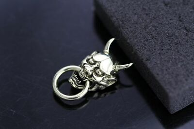 925 Silver Handmade 般若 Evil Oni Noh Hannya BUDDHIST Mask Wallet Chain Connector](Oni Mask)