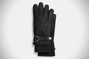 Mens Coach 3 in 1 Leather and Casmere Winter Gloves