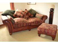 Tetrad Eastwood Midi Sofa & Footstool - Quality Fabric & Leather Sofa