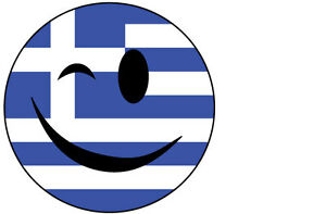 winking smiley face with greece greek flag vinyl sticker