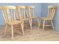 4 Fiddle back pine chairs