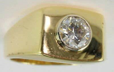 Gents 18k Yellow Gold 1 Ct Bezel Set Solitaire Diamond Band Estate (18k Gold Gents Ring)
