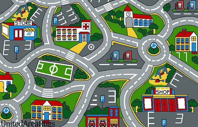 5x7 Rug Play Road Driving Time Street Car Kids Street Map...
