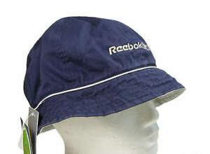 REEBOK MENS REVERSIBLE BUCKET BEANIE SUN FISHING FESTIVAL HAT BLUE OR STONE BNWT