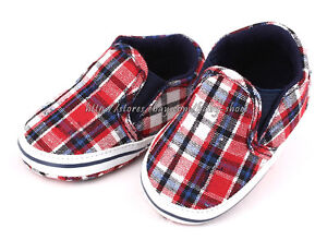 Toddler Baby Boy Crib Shoes Plaid Slip on Sneakers Size 0