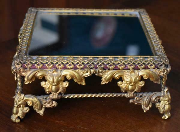 RARE SMALL SIZED VICTORIAN ERA GILDED PATTERNED METAL FOUR FOOTED PLATEAU