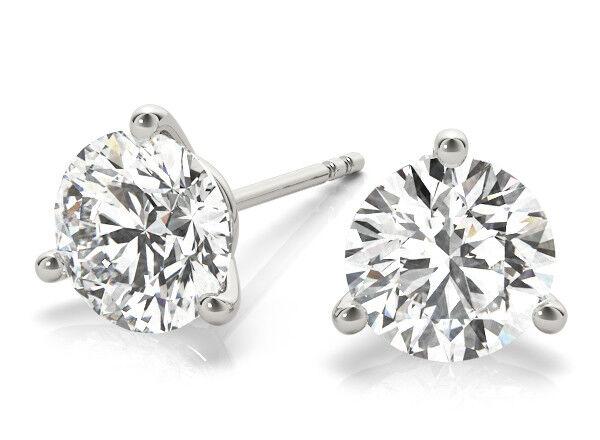 2.5 Carat Round Diamond Studs Platinum Martini Style Earrings GIA G SI2 triple X
