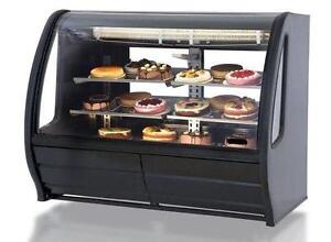 Desert, Meat, Deli, Bakery, Pastry Display Cases Curved Glass Coolers, Showcase Fridges, Gravity Cooling Merchandiser