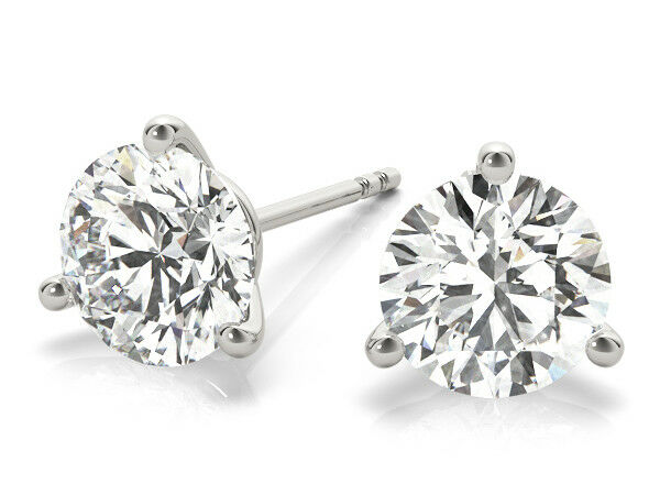 3 carat Round Ideal cut Diamond Studs Platinum Martini Style Earrings GIA H VS