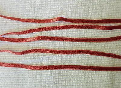 5m uraltes REINES SEIDEN Silk SATIN Band doppelseitig 5mm um 1920 Nr.16 Antik