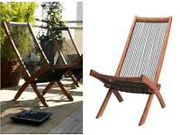 Ikea wooden folding chair lounger indoor or outdoor