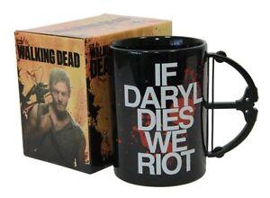 Walking Dead If Daryl Dies We Riot Large Crossbow Coffee Mug