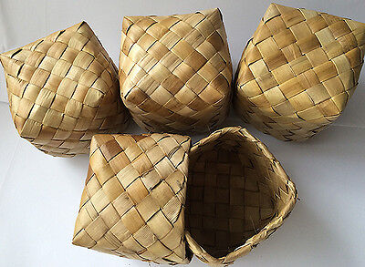 "4 Lauhala Weaved Gift Boxes Hawaiian Basket Keepsake Storage Hawaii Hula 3""x3""x3"