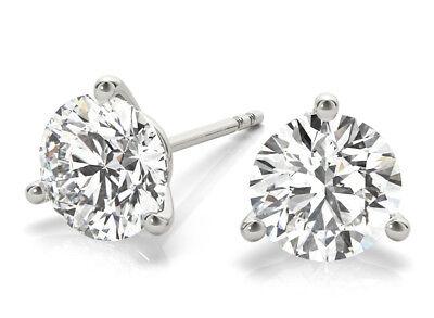 Platinum 1 ct Round Diamond Stud Martini Style Earring E Internally Flawless GIA