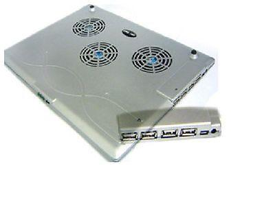 3 Lüfter Kühler Pad (Notebook Kühler Cooler Pad 3 Lüfter m. 4 Port USB 2.0 HUB in schwarz #29207)