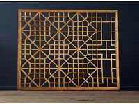 Chinese fretwork window panels. Architectural salvage. Oriental screens. Antique