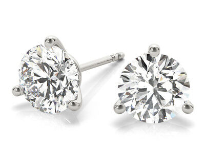 Platinum 0.88 carat Round Diamond Stud Martini Style Earrings, E Flawless GIA