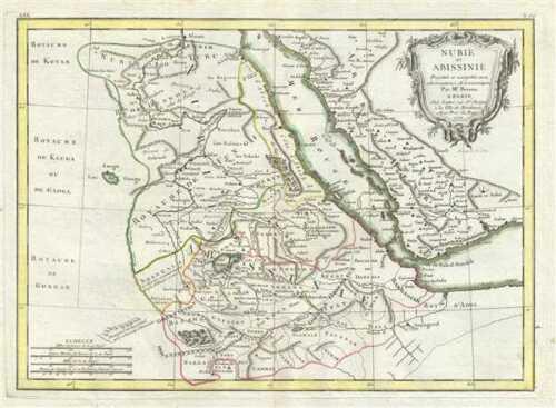 1771 Bonne Map of East Africa (Ethiopia, Sudan, Red Sea)