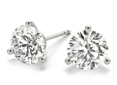 1 Carat Round Diamond Studs Platinum Martini Style Earrings triple EX I VS2 GIA