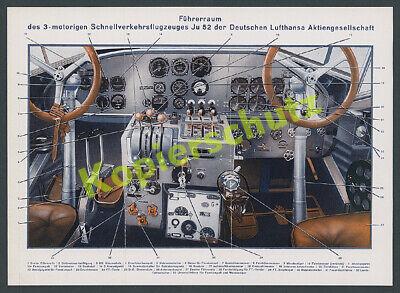 Farbtafel Cockpit Junkers Ju 52 Lufthansa DLH Technik Details Instrumente 1936