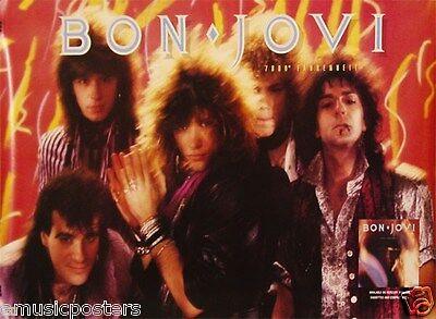 Bon Jovi  7800 Farenheit  U S  Promo Poster From 1985   Jon   Group Posing
