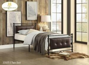 Single Metal Bed with Tufted Headboard on Sale (BD-2337)