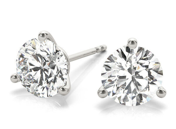 1.80 carat Round GIA Diamond Studs 14k White Gold Martini Style Earrings G SI2