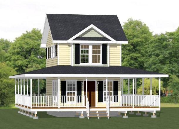 16x20 Tiny House -- 1 Bedroom 1.5 Bath -- PDF FloorPlan -- 579 sqft -- Model 11A