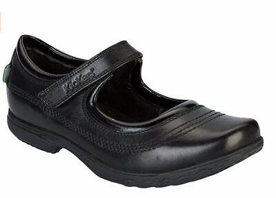 Kickers Fragma Keavey Bar Youths Black Leather School Shoes