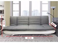 New SOFA BED 3 Seater Fabric Pillow Top Faux Leather Base Also Brown/Beige