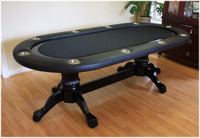 "95"" Solid Wood Poker Table without Dealer Spot Black"