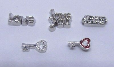 Love you to the moon and back heart key romance Floating charms living locket - Floating Lockets And Charms