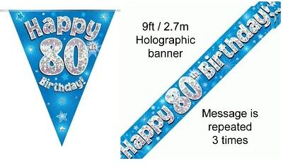 80th BIRTHDAY BLUE FOIL BANNERS AND BUNTING ****OFFER BOTH ITEMS FOR - 80 Items For 80th Birthday