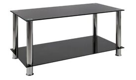 Black glass and chrome coffee table / unit