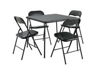 Home Quin Metal Folding Table & 4 Folding Chairs
