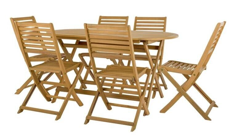 Argos wooden garden furniture - table & six chairs   in ...