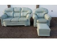 Stunning Leather Mont Green Sofa Set In Immaculate Condition
