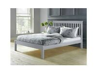 New Double bed frame, light grey wood. Bargain. Boxed. Delivery available.