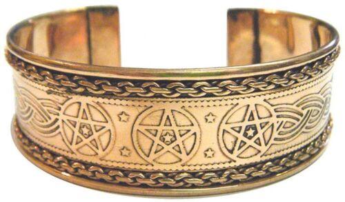 Adjustable Pentagram Engraved Copper Bracelet (Pagan Wicca) FREE SHIPPING