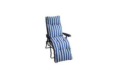 Striped Foldable Multi-Position Sun Lounger with Cushion Stretch Out And Relax