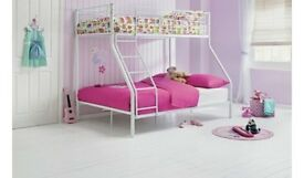 HOME Metal Triple Bunk Bed Frame - White