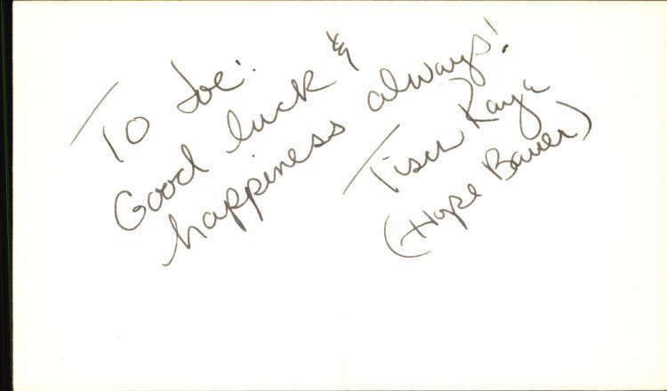 "TISCH RAYE GUIDING LIGHT Signed 3""x5"" Index Card"