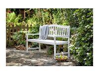 Henrietta Wooden 3 Seater Bench - White