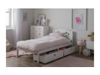 Mia Single Bed Frame with 2 Drawers - White