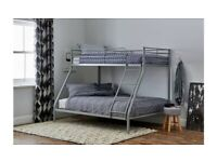 ☀️💚☀️SAME / NEXT DAY DELIVERY☀️💚☀️TRIO METAL BUNK BED FRAME DOUBLE BOTTOM & SINGLE TOP
