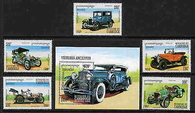CAMBODIA CLASSIC AUTOMOBILE STAMPS - MINT SET & SHEET!