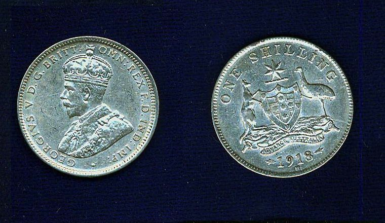 AUSTRALIA GEORGE V 1918-M 1 SHILLING SILVER COIN  ALMOST UNCIRCULATED++