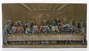 Da Vinci Last Supper Wall Plaque Sculpture Home Decor Figurine Jesus & Disciples
