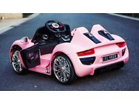PORCHE GT PINK KIDS ELECTRIC RIDE ON ELECTRIC REMOTE CONTROL CAR BRAND NEW AGES 3 TO 5