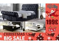 *Cristmas Sale*Solid Crush Velet SLEIGH BED Cash On Delivery